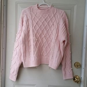 Forever 21 Cable Knit Pearl Sweater